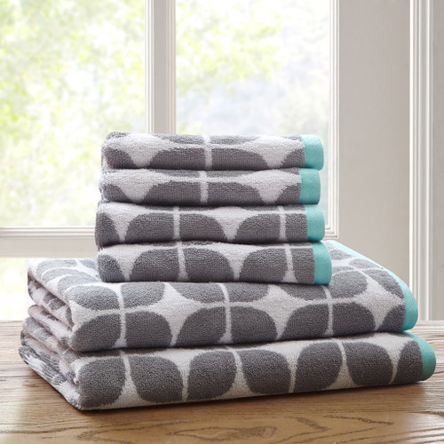 Grey White & Aqua Geometric Cotton Jacquard Bath Towel Set (Lita-Grey-Towels)