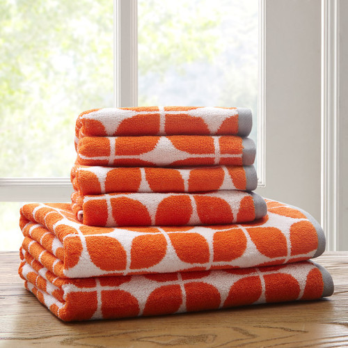 Orange White & Grey Geometric Cotton Jacquard Bath Towel Set (Lita-Orange-Towels)