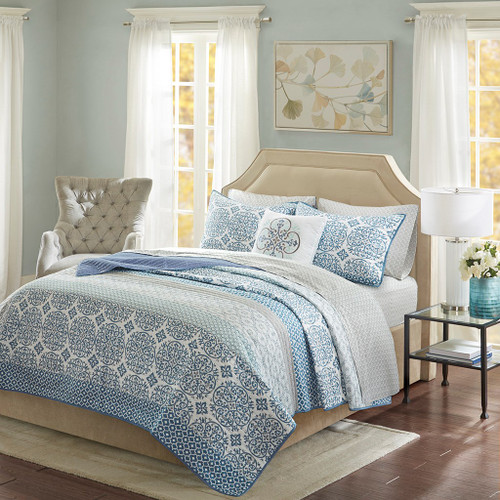 Blue Globally Inspired coverlet Quilt Set AND Matching Sheet Set (Sybil-Blue-cov)