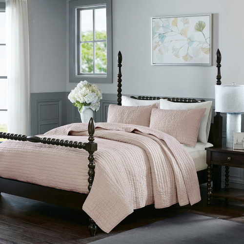 Luxury Blush Pink Cotton Quilted Coverlet AND Decorative Shams (Serene-Blush-cov)