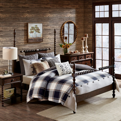 Brown & Black Plaid Urban Cabin Oversized Comforter Set AND Decorative Pillows (Urban Cabin-Brown)