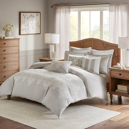 8pc Natural Shades Textured Oversized Comforter Set AND Decorative Pillows (Barely There-Natural)