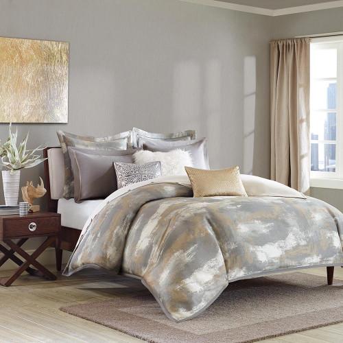 Grey White & Gold Oversized Comforter Set AND Metallic Decorative Pillows (Graphix-Grey)