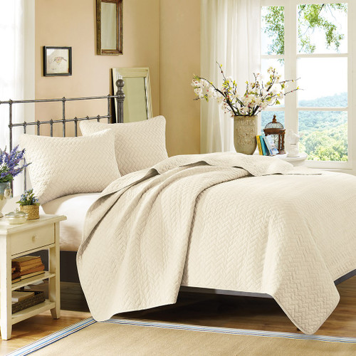 3pc Ivory Velvet Touch Quilted Coverlet AND Decorative Shams (Velvet-Ivory-cov)