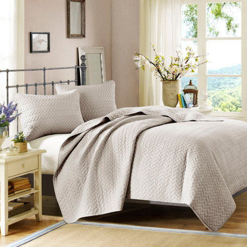 3pc Linen Color Velvet Touch Quilted Coverlet AND Decorative Shams (Velvet-Linen-cov)