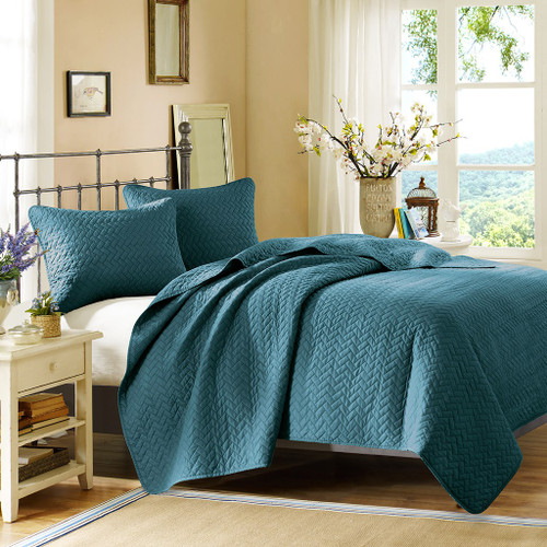 3pc Peacock Blue Velvet Touch Quilted Coverlet AND Decorative Shams (Velvet-Peacock-cov)