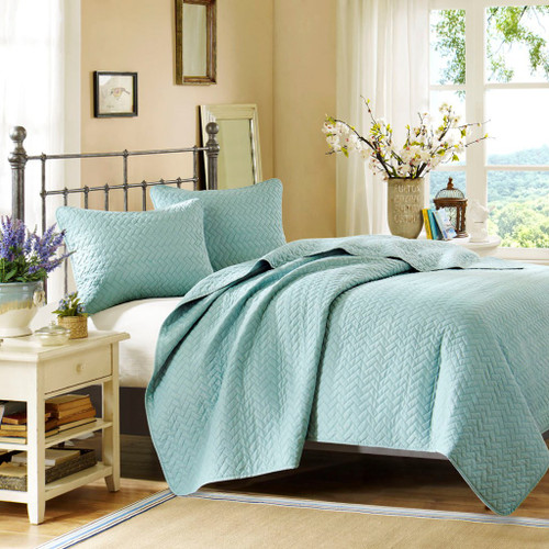 3pc Blue Velvet Touch Quilted Coverlet AND Decorative Shams (Velvet-Sky-cov)