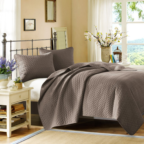 3pc Brown Velvet Touch Quilted Coverlet AND Decorative Shams (Velvet-Taupe-cov)
