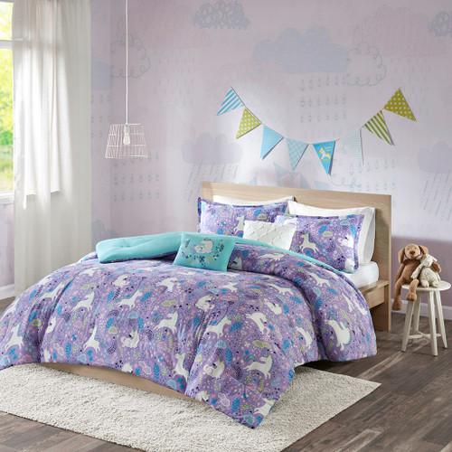 Purple & Aqua Blue Reversible Unicorns Comforter Set AND Decorative Pillows (Lola-Purple-comf)