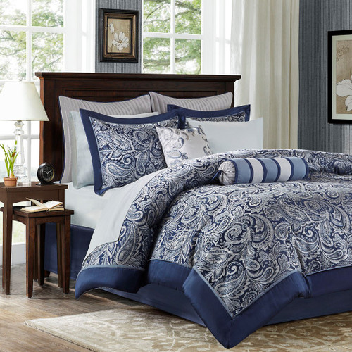 12pc Navy Blue Paisley Jacquard Weave Comforter Set AND Sheet Set (Aubrey-Navy)