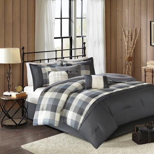 7pc Rustic Grey & Ivory Buffalo Plaid Comforter Set AND Decorative Pillows (Ridge-Grey)