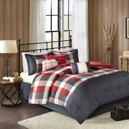 7pc Rustic Red & Ivory Buffalo Plaid Comforter Set AND Decorative Pillows (Ridge-Red)
