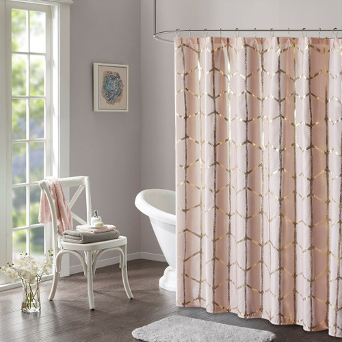 "Blush Pink Geometric Metallic Fabric Shower Curtain - 72"" x 72"" (Raina-Blush-Shower)"