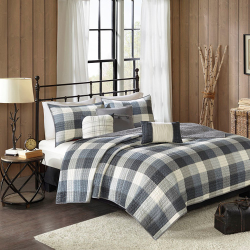 6pc Grey & Ivory Buffalo Plaid Coverlet Quilt Set AND Decorative Pillows (Ridge-Grey-cov)