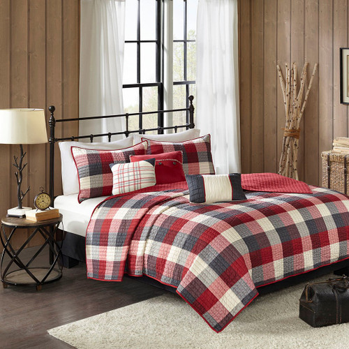 6pc Red & Grey Buffalo Plaid Coverlet Quilt Set AND Decorative Pillows (Ridge-Red-cov)