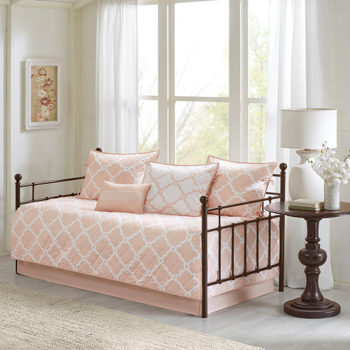 6pc Blush Pink & White Reversible Quilted Daybed Set AND Decorative Pillow (Merritt-Blush-DB)