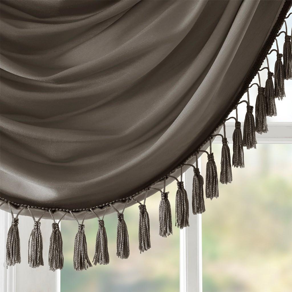 Pewter Faux Silk Waterfall Embellished Rod Pocket Window Valance (Elena-Pewter-val)