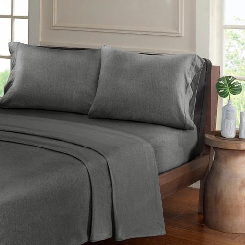 Charcoal Grey Heathered Cotton Jersey Knit Sheet Set (Heathered-Charcoal)