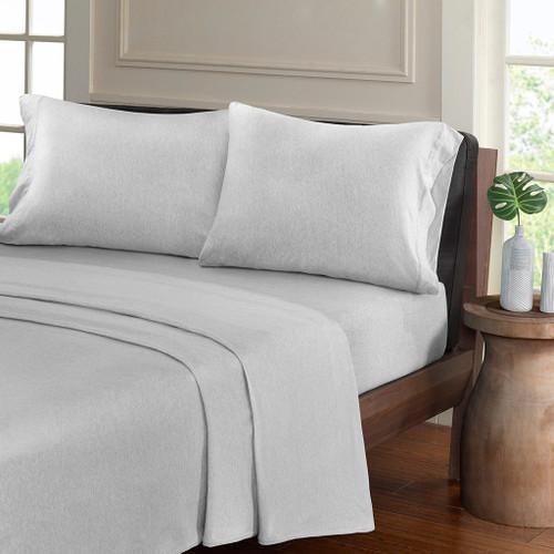 Light Grey Heathered Cotton Jersey Knit Sheet Set (Heathered-Light Grey)