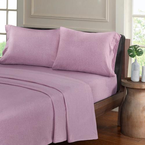Purple Heathered Cotton Jersey Knit Sheet Set (Heathered-Purple)