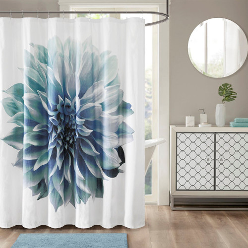 "Blue & White Floral 200TC Cotton Percale Fabric Shower Curtain - 72"" x 72"" (Norah-Aqua-Shower)"