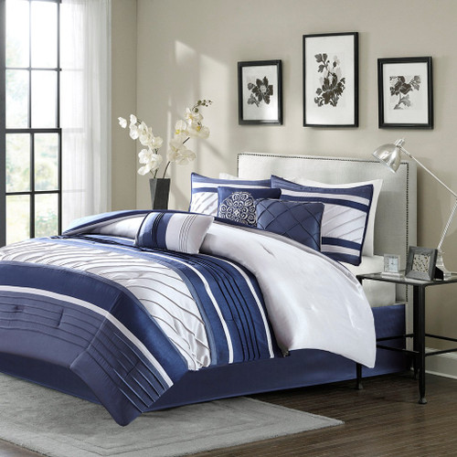 7pc Navy Blue & Soft Grey Striped Comforter Set AND Decorative Pillows (Blaire-Navy)