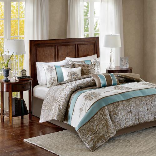 7pc Blue Brown & Ivory Jacquard Paisley Comforter Set AND Decorative Pillows (Caroline-Blue)