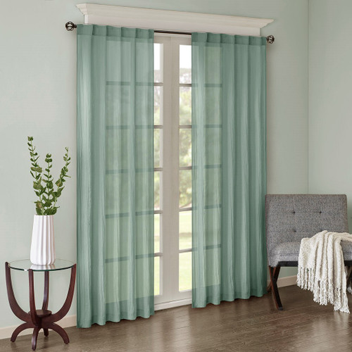 Set of 2 Solid Aqua Crushed Sheer Window Panels - Rod Pocket Top (Harper-Aqua-window)