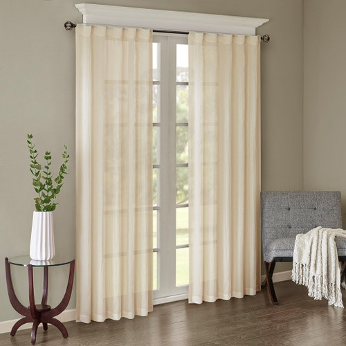 Set of 2 Solid Cream Crushed Sheer Window Panels - Rod Pocket or Back Tab Top (Harper-Cream-window)
