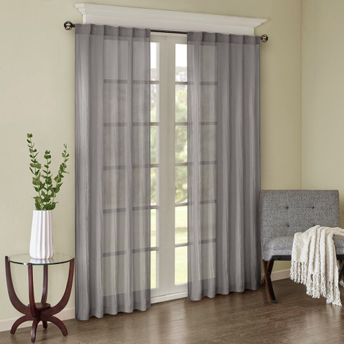 Set of 2 Solid Grey Crushed Sheer Window Panels - Rod Pocket or Back Tab Top (Harper-Grey-window)