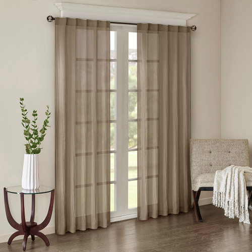 Set of 2 Solid Taupe Crushed Sheer Window Panels - Rod Pocket or Back Tab Top (Harper-Taupe-window)