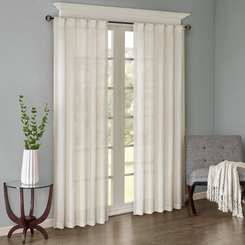 Set of 2 Solid White Crushed Sheer Window Panels - Rod Pocket or Back Tab Top (Harper-White-window)