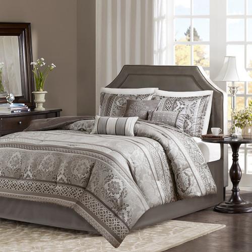 7pc Grey & Silver Motif Jacquard Comforter Set AND Decorative Pillows (Bellagio-Grey)