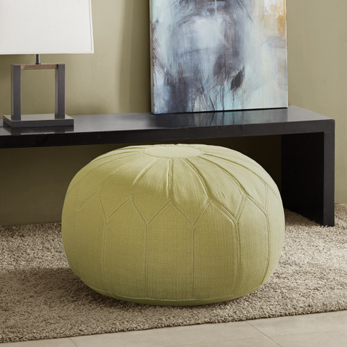 Green Kelsey Oversized Round Pouf Ottoman w/Stitching (Kelsey-Green-Benches)