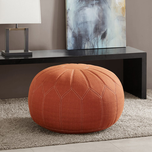 Orange Kelsey Oversized Round Pouf Ottoman w/Stitching (Kelsey-Orange-Benches)