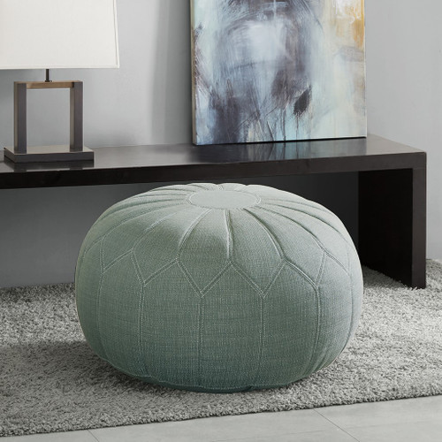 Seafoam Blue/Green Kelsey Oversized Round Pouf Ottoman w/Stitching (Kelsey-Seafoam-Benches)