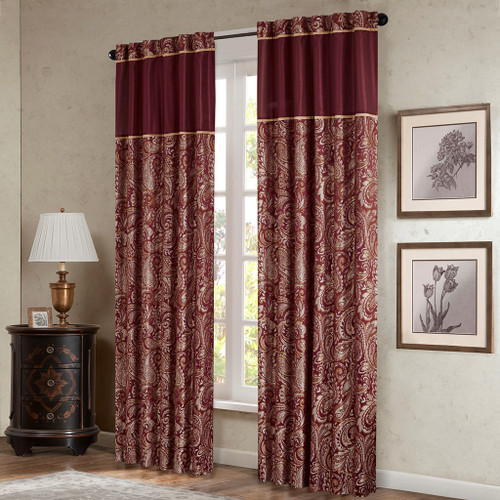 Set of 2 Burgundy & Gold Paisley Motif Window Panels - Rod Pocket or Back Tab Top (Aubrey-Burgundy-window)