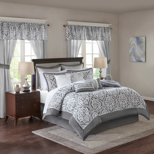 24pc Grey & White Ornate Pattern Comforter Set, Sheets, Pillows, Curtains AND More (Jordan-Grey)