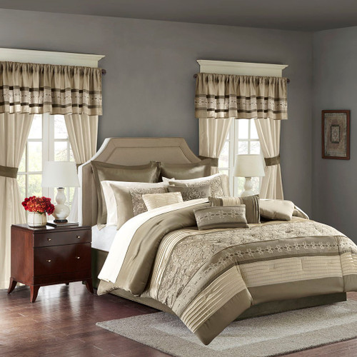 24pc Taupe & Brown Embroidered Comforter Set, Sheets, Pillows, Curtains AND More (Jelena-Taupe)