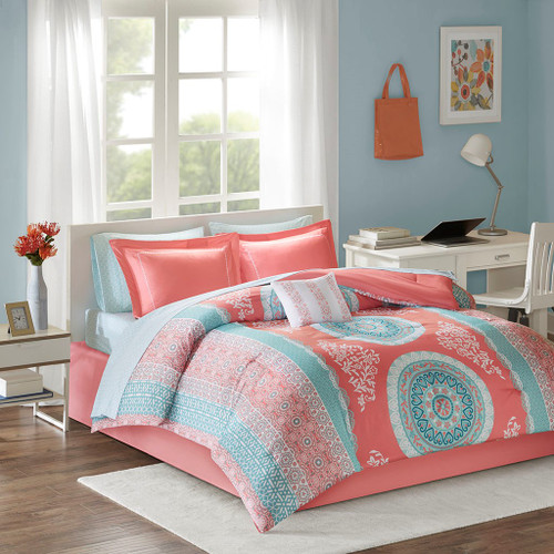 Coral & Aqua Large Medallion Comforter Set AND Matching Sheet Set (Loretta-Coral)