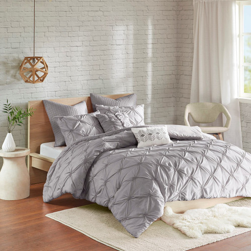 7pc Grey Pintucked Embroidered Duvet Cover Set AND Decorative Pillows (Talia-Grey-duv)