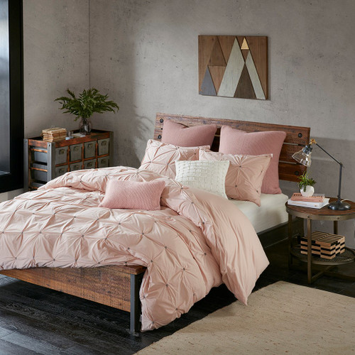 3pc Blush Pink & Grey 200TC Cotton Comforter AND Decorative Shams (Masie-Blush)
