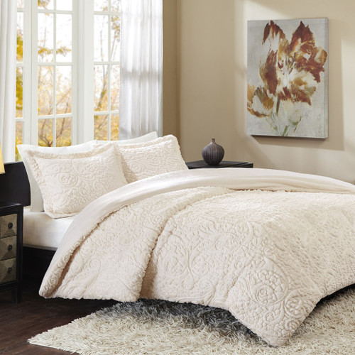 Ivory Paisley Ultra Plush Faux Fur Comforter AND Pillow Shams (Norfolk-Ivory-comf)