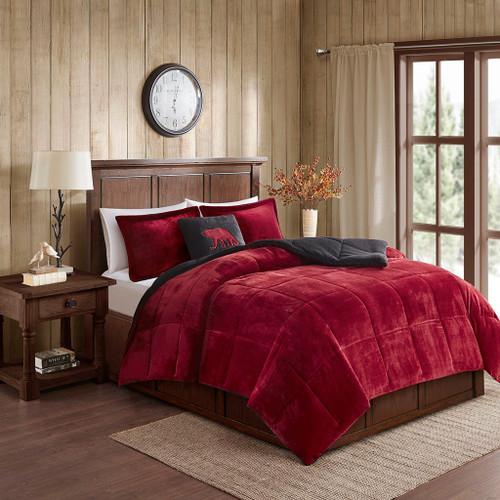 Red & Black Plush Reversible Berber Comforter Set AND Decorative Pillow (Alton-Red/Black)