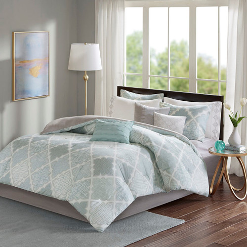 9pc Aqua & White Geometric Cotton Comforter Set AND Decorative Pillows (Cadence-Aqua)