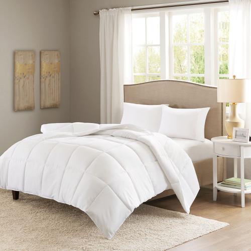 White Copper Fiber Infused Microfiber Down Alternative Comforter (Copper Infused-White)