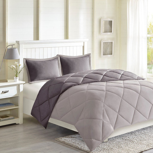 Charcoal & Grey Microfiber Down Alternative Comforter AND Decorative Shams (Larkspur-Charcoal/Grey)