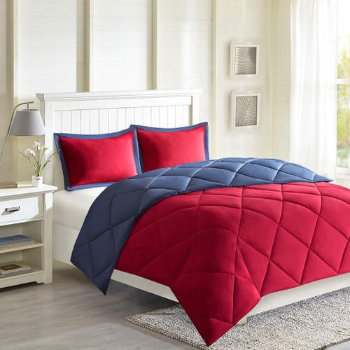 Red & Blue Microfiber Down Alternative Comforter AND Decorative Shams (Larkspur-Red/Navy)