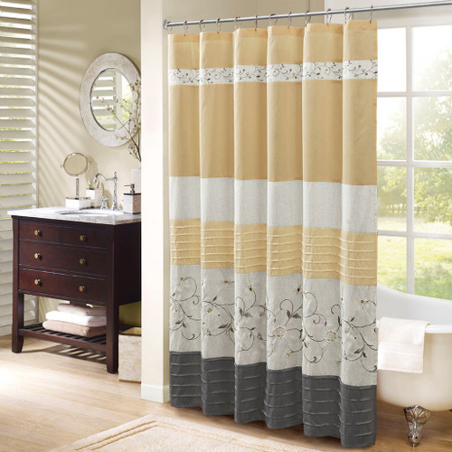 "Shades of Yellow & Grey Floral Embroidered Fabric Shower Curtain - 72"" x 72"" (Serene-Yellow-Shower)"
