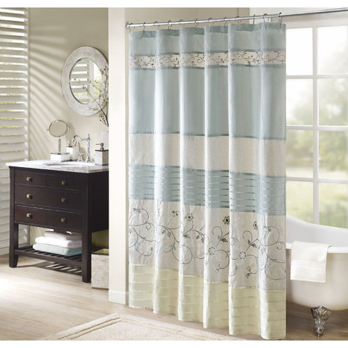 "Shades of Aqua & Green Floral Embroidered Fabric Shower Curtain - 72"" x 72"" (Serene-Aqua-Shower)"